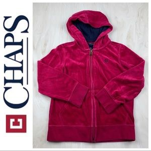 Chaps pink velour hoodie 6x